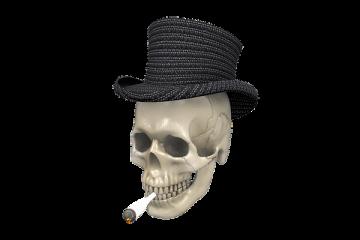 pot smoking skull