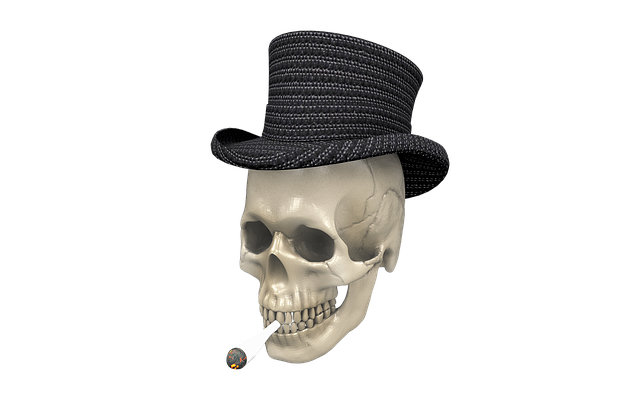pot smoking skull